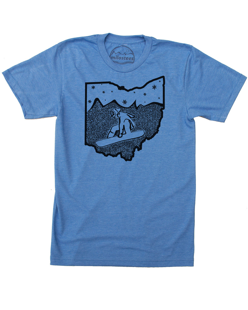 Ohio Snowboard Shirt | Original Snow Trails Graphic | Hand Screen Print on Soft 50/50 Threads | Elevate the Day!