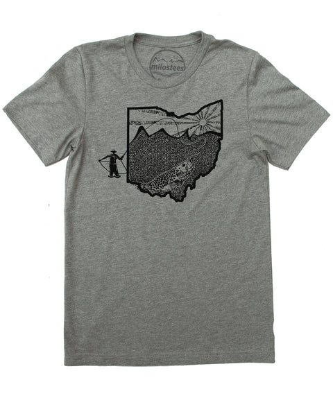 Ohio Home Shirt with Original Fly Fishing Graphic On Soft 50/50 Wears | Elevate the Day!