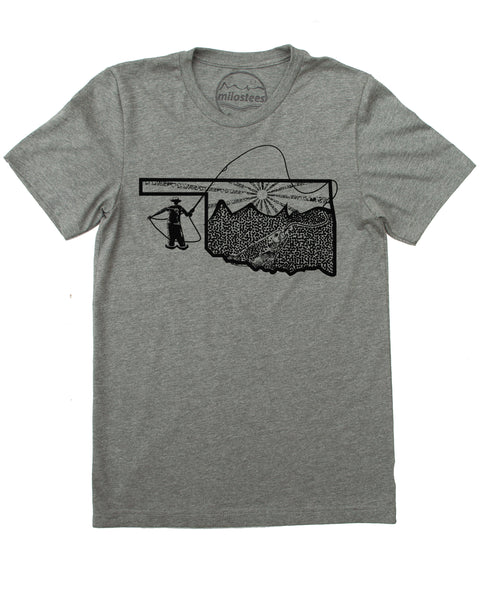Oklahoma Shirt | Original Fly Fishing Illustration | Hand Screen Printed on Soft 50/50 Tees | Elevate the day!