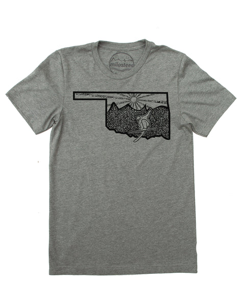 Oklahoma T-shirt | Skiing Illustration on Soft 50/50 Wears | Funny Ski Tee for Elevating the Day!