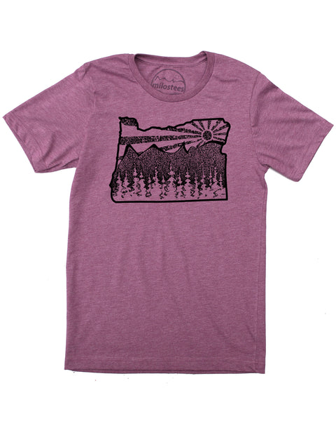 Oregon Shirt- Mountain Illustration Screen Printed on Soft 50/50 Threads- Sure to be a Favorite!