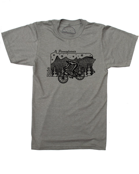 Pennsylvania Home Shirt with Mountain Bike Flair- Print on Soft 50/50 Tee's