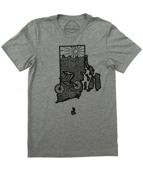 Rhode Island Shirt | Original Bicycle Graphic | Hand Screen Print on Soft 50/50 Tee's