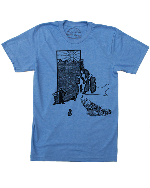 Rhode Island Home Shirt | Original Fly Fishing Graphic | Hand Screen Print on Soft 50/50 Tees | Elevate the Day!