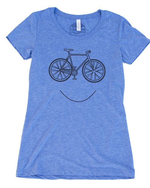 Smiling Bike T-shirt, Light Blue Color Women's Form Fitting Style