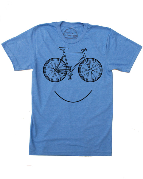 Smiling Bike screen print on soft cotton, polyester shirt 50/50, blue short sleeve tee- $21.99, free shipping in the USA!