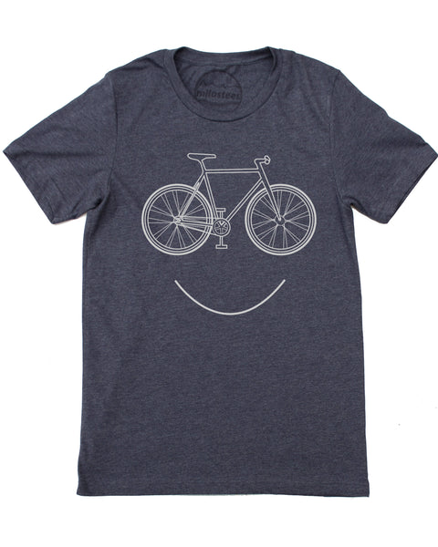 Smiling Bike screen print on soft cotton, polyester shirt 50/50, dark blue short sleeve tee- $21.99, free shipping in the USA!