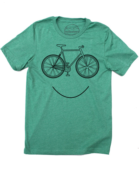 Smiling Bike screen print on soft cotton, polyester shirt 50/50, green short sleeve tee- $21.99, free shipping in the USA!