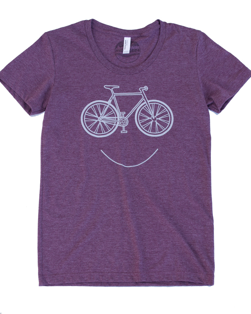 Smiling Bike T-shirt, Color Plum Womens Form Fitting