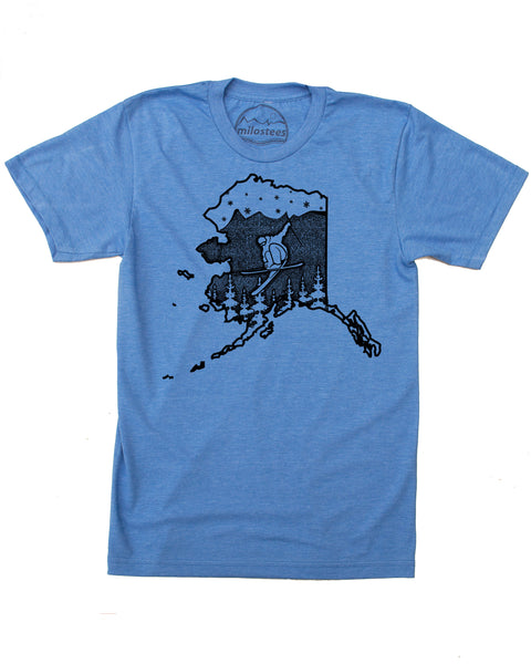 Alaska Ski Shirt- Ski the Chugach in a soft 50/50 Tee Shirt and Elevate the day! $21.99, free shipping in the USA.