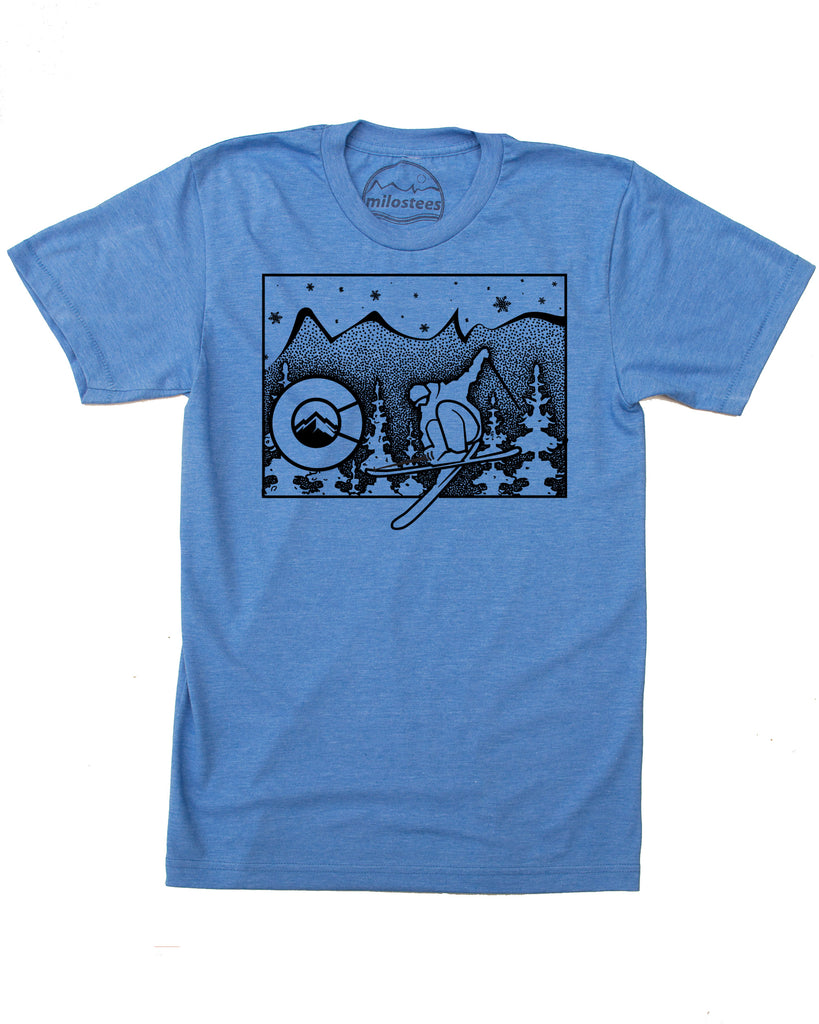 Colorado ski T-shirt - Ski the Rockies in Soft 50/50 Apparel for Elevating the Day!