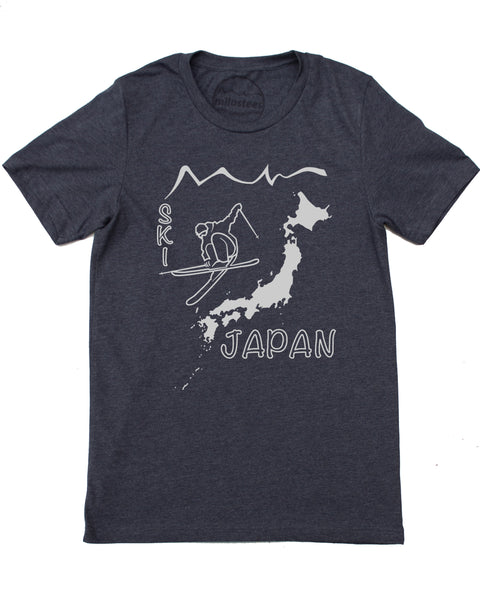 Ski Japan Shirt - Japan Islands with Skier and Print Reading Ski Japan - Dark Blue 50/50 Blend of Cotton, Polyester- $21.99, free shipping in USA