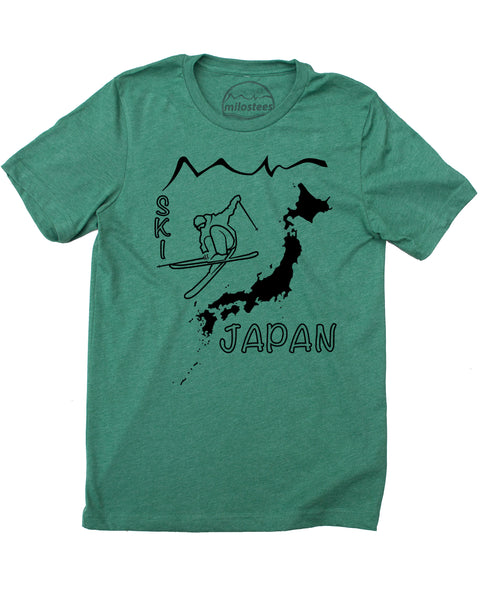 Ski Japan Shirt - Japan Islands with Skier and Print Reading Ski Japan - Green 50/50 Blend of Cotton, Polyester- $21.99, free shipping in USA