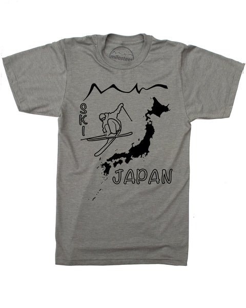Ski Japan Shirt - Japan Islands with Skier and Print Reading Ski Japan - Army Green, 50/50 Blend of Cotton, Polyester- $21.99, free shipping in USA