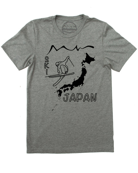 Ski Japan Shirt - Japan Islands with Skier and Print Reading Ski Japan - Grey 50/50 Blend of Cotton, Polyester- $21.99, free shipping in USA