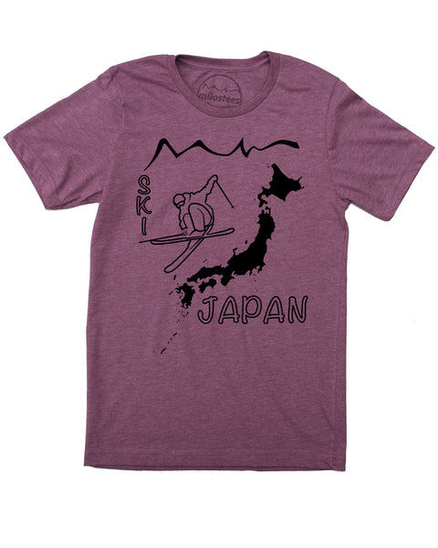 Ski Japan Shirt - Japan Islands with Skier and Print Reading Ski Japan - Plum 50/50 Blend of Cotton, Polyester- $21.99, free shipping in USA