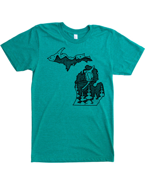 Michigan Ski T-shirt, Graphic illustration of a Skier Shredding in a Winter Wonderland- Hand Screen Print on Soft 50/50 Tee's