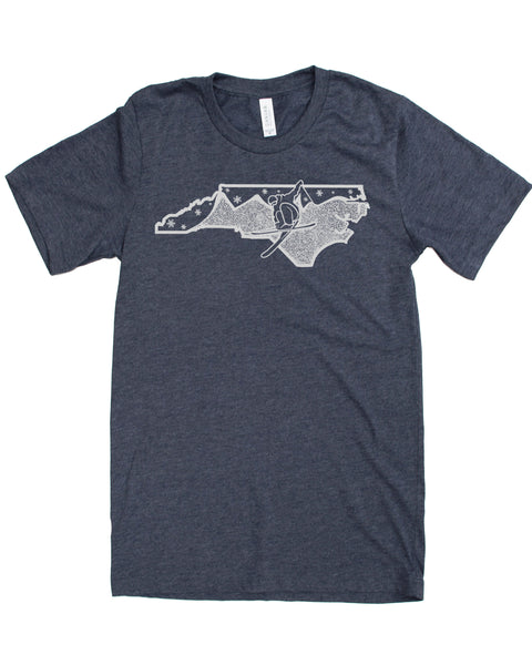 North Carolina Shirt- Ski NC in a Soft 50/50 Tee, Great for Skiing or Casual Wear! $21.99, free shipping in the USA.