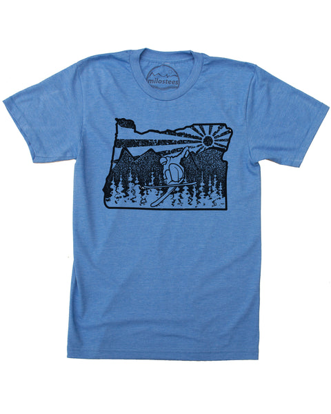 Oregon Ski T-shirt, Soft Threads Hand Screen Printed with Graphic Oregon Design. $21.99, free shipping in USA.