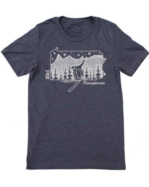 Graphic Pennsylvania Ski T-shirt, ski the Appalachians in a soft 50/50 shirt screen printed by hand and shipped free in USA!