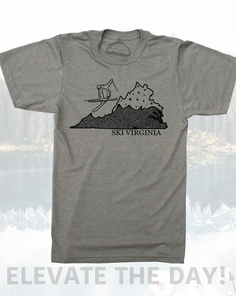 Virginia T Shirt- Graphic Illustration of Skier Shredding The Commonwealth in a Soft 50/50 Tee- Hand Screen Printed