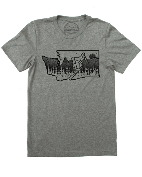 Washington Ski T-shirt, Powder Soft Tee, Graphic of a Skier Shredding Washington State