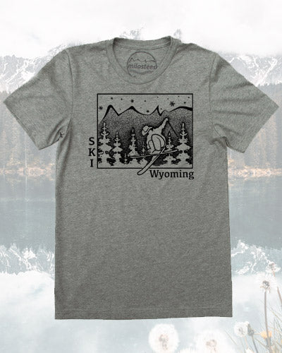 Wyoming Shirt- Ski the Cowboy State in a pair of Wranglers and a Tee, Screen Print on soft 50/50 Tees- Great Apres Ski Wear!