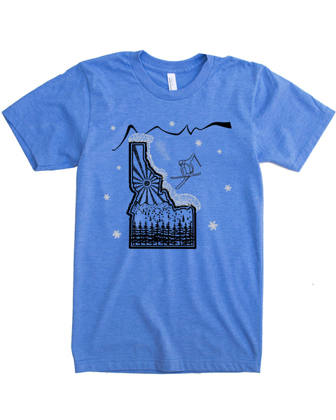 Skier Skiing Idaho design - color blue - cotton/polyester - $21.99 free shipping!
