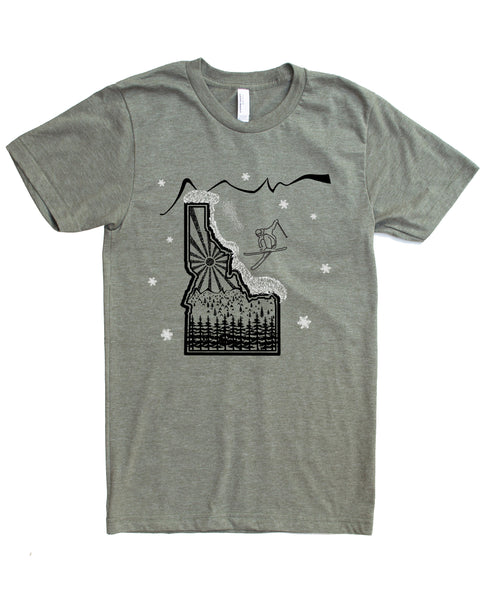 Skier Skiing Idaho design - color lieutenant - cotton/polyester - $21.99 free shipping!