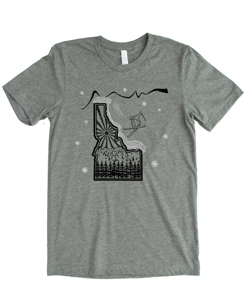Skier Skiing Idaho design - color grey - cotton/polyester - $21.99 free shipping!