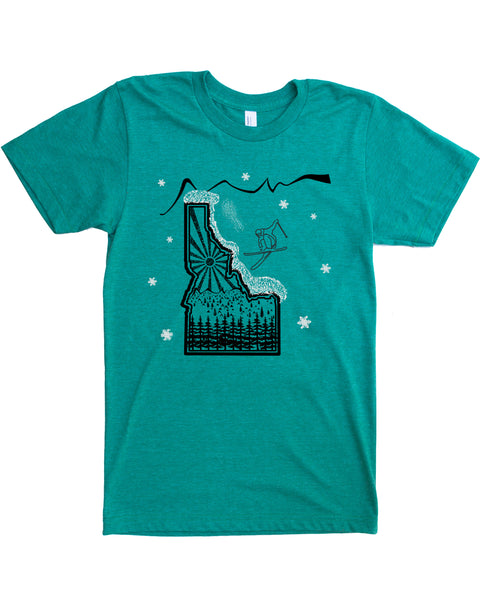 Skier Skiing Idaho design - color green - cotton/polyester - $21.99 free shipping!