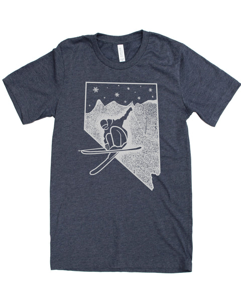 Nevada Ski T-shirt, Silk Screen Print on Soft Wears in Multiple Colors- Elevate the day!