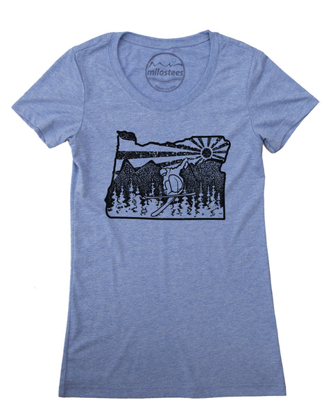 Oregon Women's Shirt- Ski Oregon Graphic on Soft Tee's, Form Fitting Style Hand Screen Printed