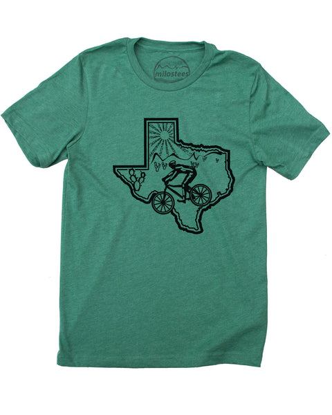 Texas Home Shirt with Mountain Bike Style- Print on Soft 50/50 Tee's