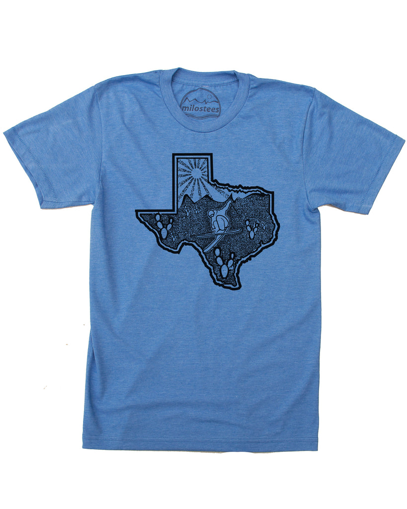 Ski Texas T-shirt | Skiing Graphic on Soft 50/50 Wears | Ski the Lone Star State Elevate the Day!