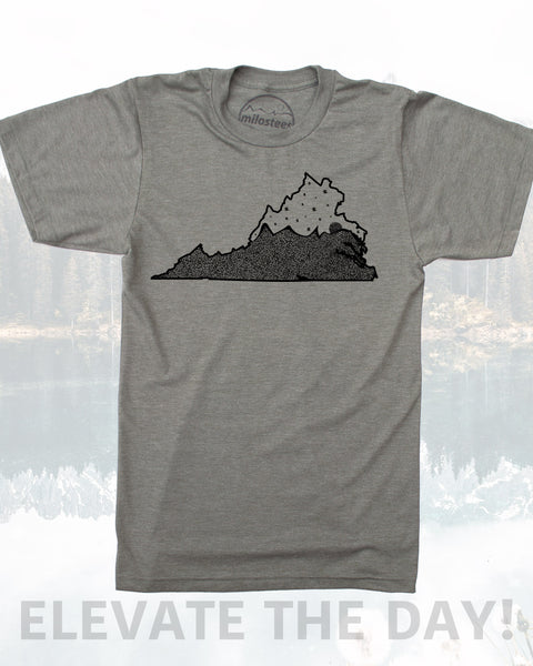 Virginia Shirt- Home Screen Printed with Mountains and Stars- Elevate your day in a Silky 50/50 blend.