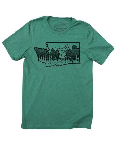 Ski Washington T-shirt, Skiing Illustration on Soft 50/50 Tees | Ski Snoqualmie Elevate the Day!