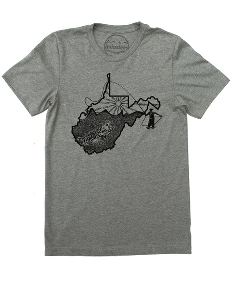 West Virginia Home Shirt with Fly Fishing Illustration on Soft Tee's for Outdoor Adventure and Casual Wear!