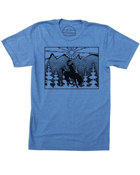 Wyoming Home Shirt | Wilderness Illustration with Horse and Cowboy | Hand Screen Print on Soft 50/50 Tee's | Elevate the Day!