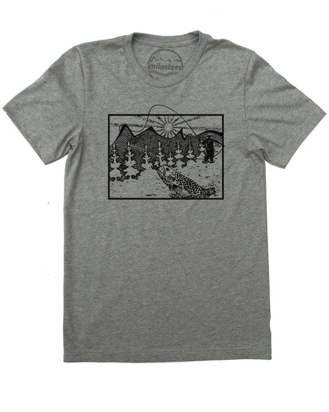 Wyoming Home Shirt | Fly Fishing Illustration | Hand Screen Print on Soft 50/50 Tee's | Elevate the day!
