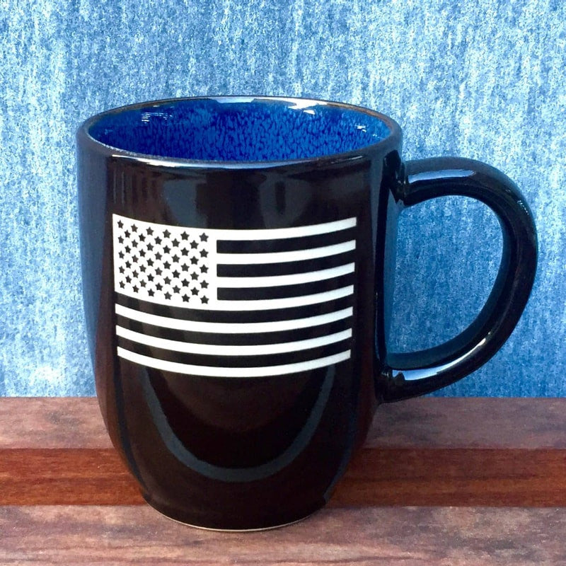 American Flag Coffee Mug, Sand Carved by Integrity Bottles