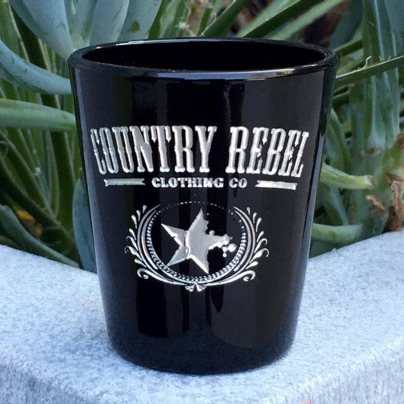 Country Rebel Shot Glass, Sand Carved by Integrity Bottles