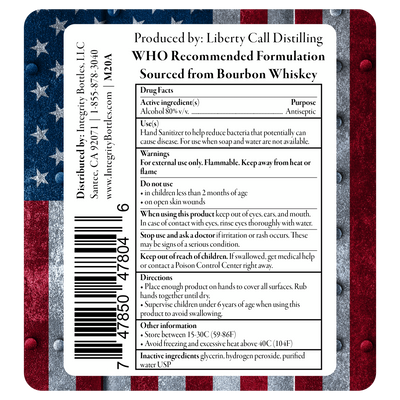 80% Alcohol Hand Sanitizer, Sourced from Bourbon, WHO Recommended Topical Solution, Made in USA by Integrity Bottles