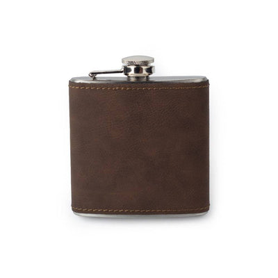 Bay Brown Custom Etched Saddle Leather Flask, 6 Ounce Integrity Bottles