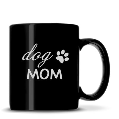 "Black Coffee Mug with ""Dog Mom"" Design, Deep Etched by Integrity Bottles"