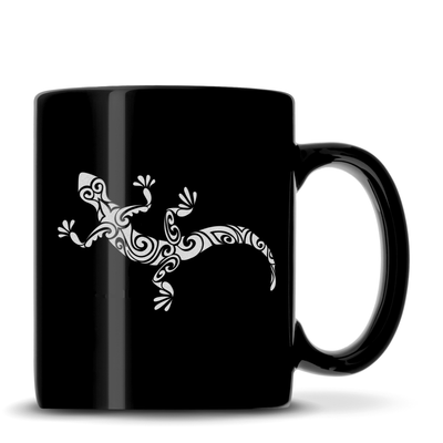 Black Coffee Mug with Gecko Design, Deep Etched by Integrity Bottles