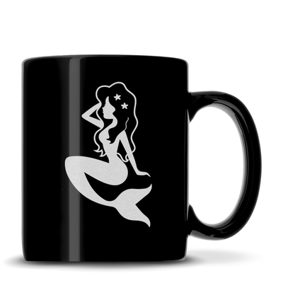 Black Coffee Mug with Mermaid Design, Deep Etched by Integrity Bottles