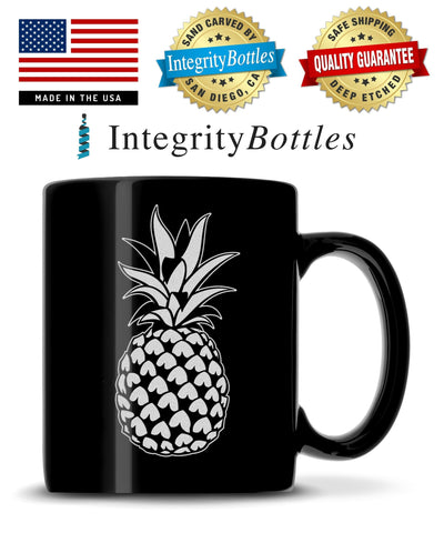 Black Coffee Mug with Pineapple Design, Deep Etched by Integrity Bottles