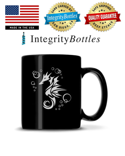 Black Coffee Mug with Seahorse Design, Deep Etched by Integrity Bottles