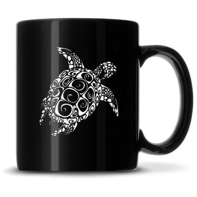 Black Coffee Mug with Tribal Dolphin, Deep Etched by Integrity Bottles